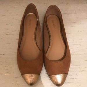 Old navy, brown and gold flats, size 8.